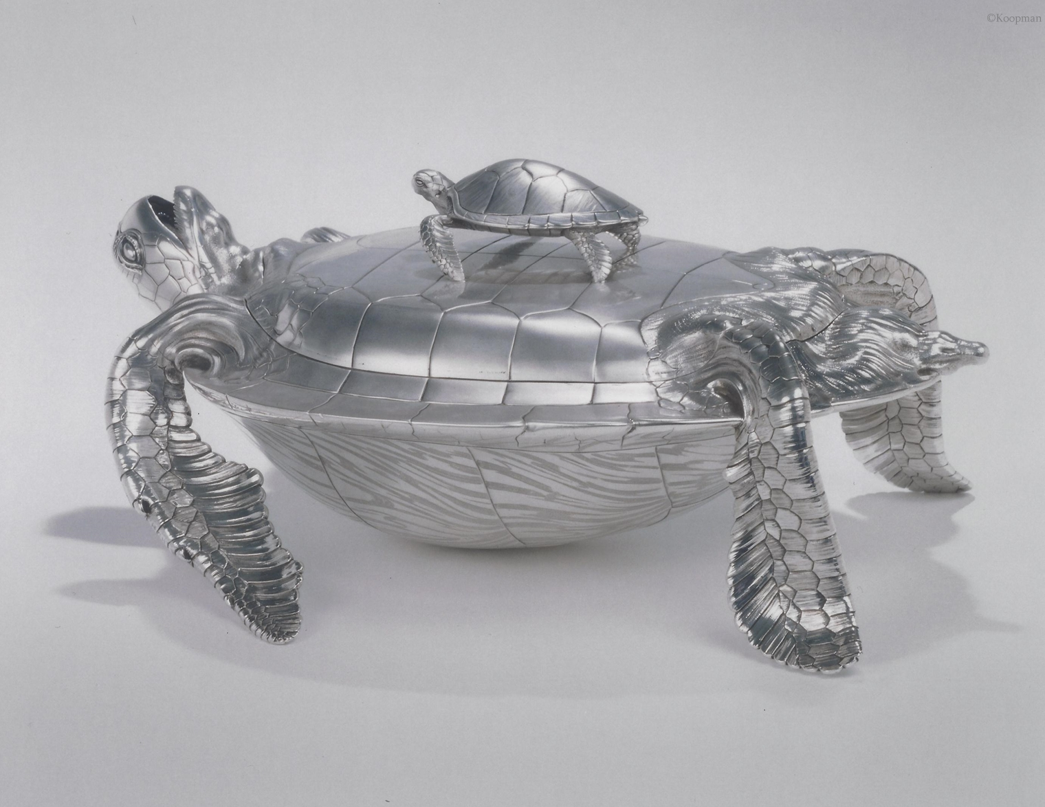 A Highly Important George II Soup Tureen formed as a Green Turtle