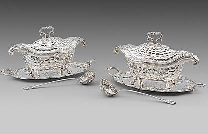 A Highly Important Pair of George II Silver Soup-Tureens, Covers, Stands & ladles