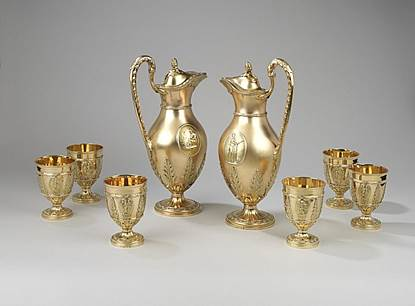 A Highly Important  Pair of George III Neo-Classical  Wine Ewers & Goblets