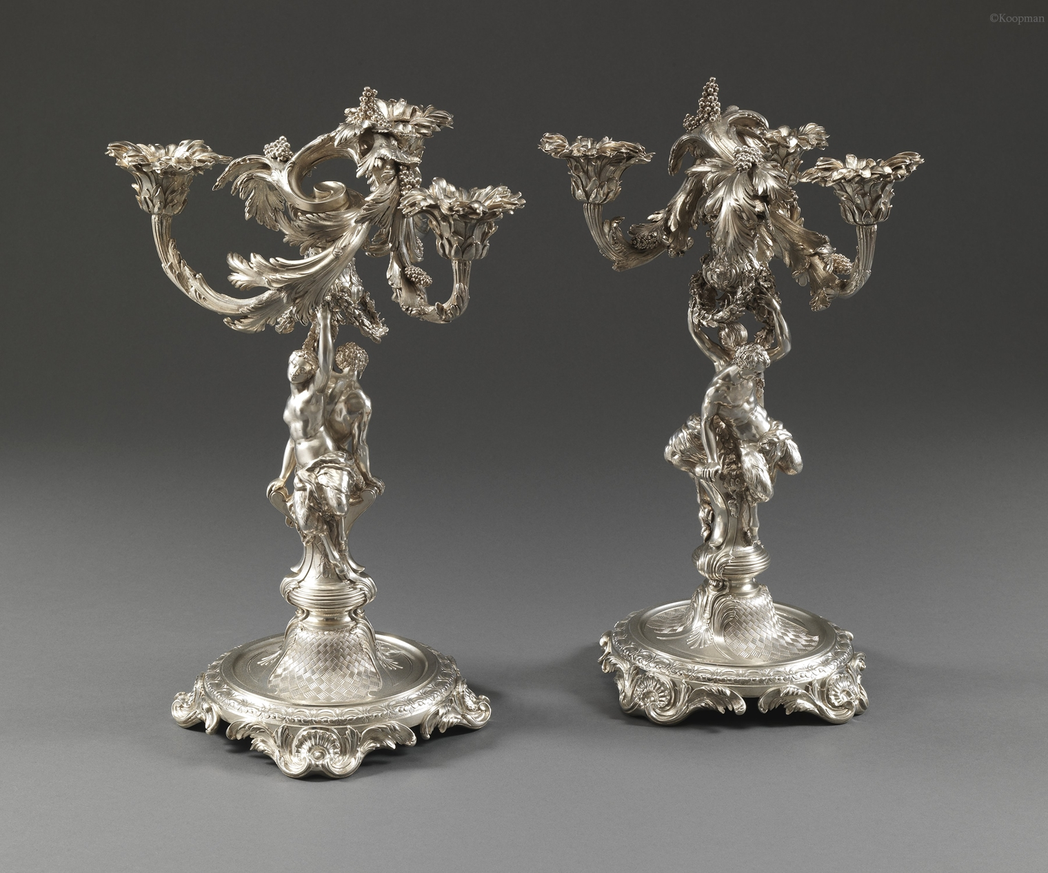 THE 20TH EARL OF KILDARE:  A PAIR OF GEORGE II CANDELABRA