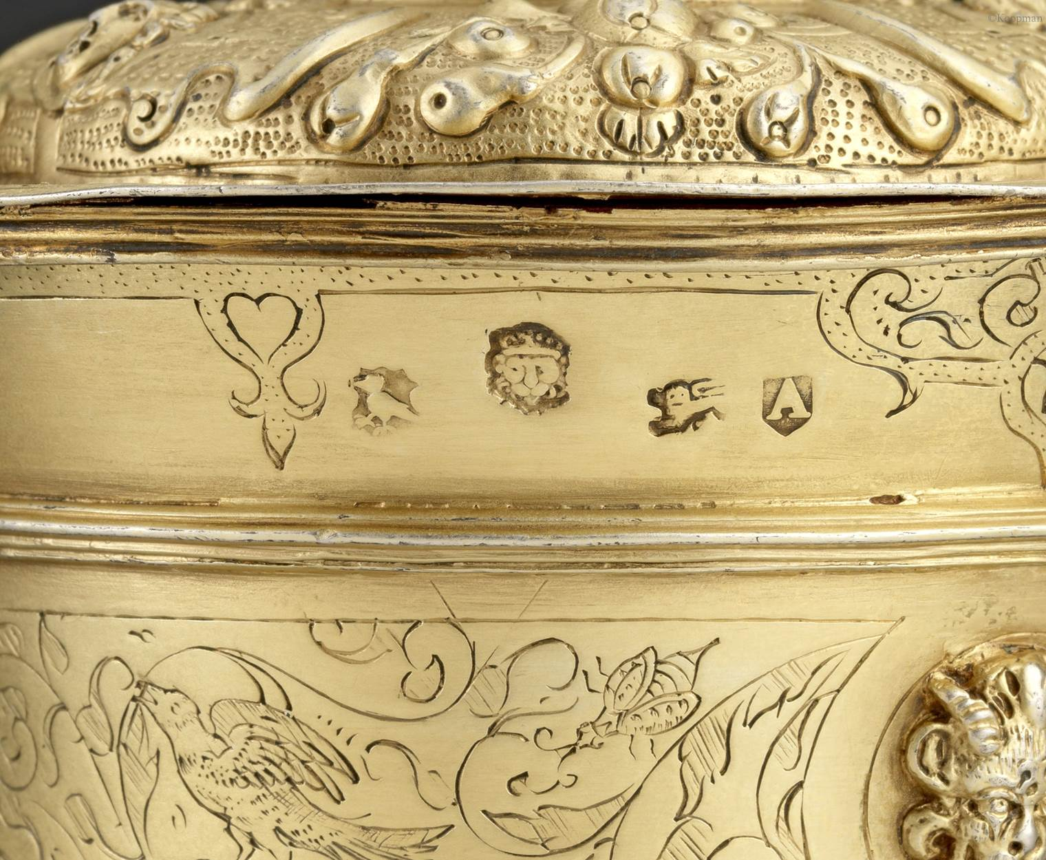 AN ELIZABETHAN SILVER-GILT CUP AND COVER