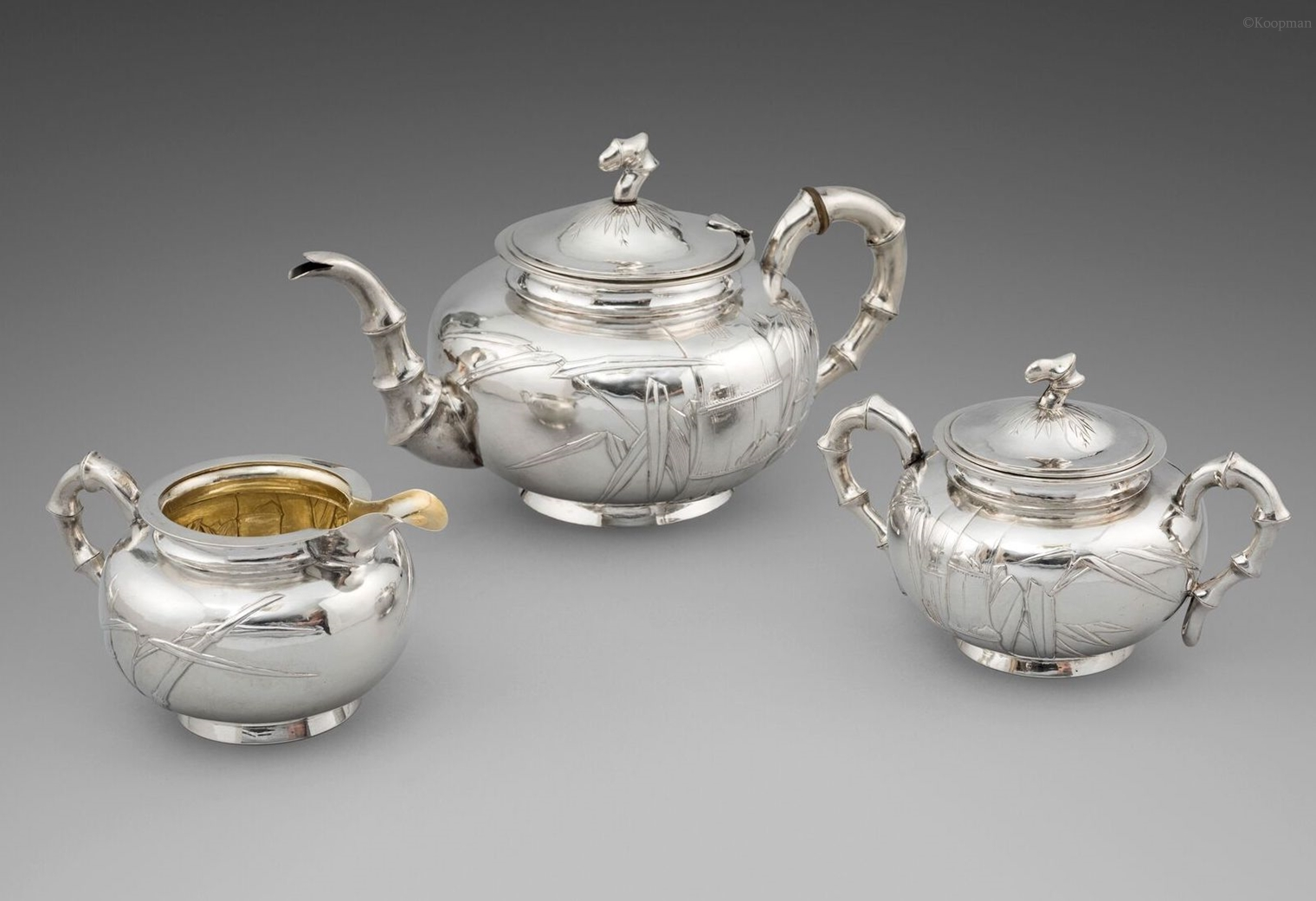 A 19th Century Three-Piece Bamboo Tea Service