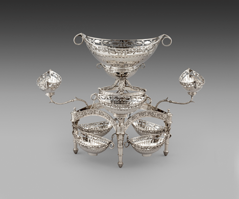 A Rare George III Nine Basket Silver Epergne Centrepiece