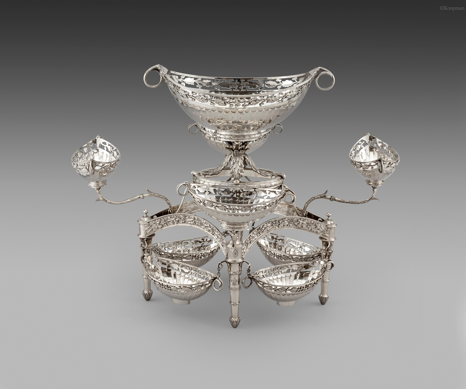 A Rare George III Nine Basket Silver Epergne Centrepiece