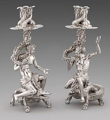 A Magnificent Royal Pair of Figural Candlesticks made for the Duke of York