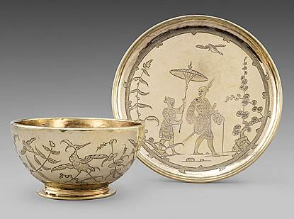 A Highly Important Charles II Chinoiserie Cup & Saucer
