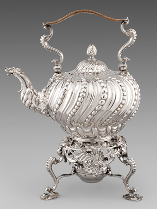 A Fantastic George II Rococo Kettle on Stand