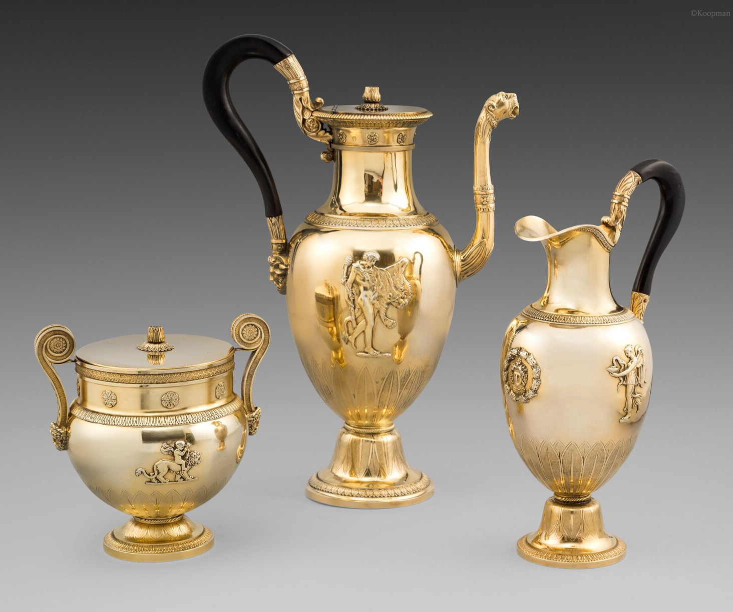 An Important 19th Century French Three-Piece Empire Coffee Service