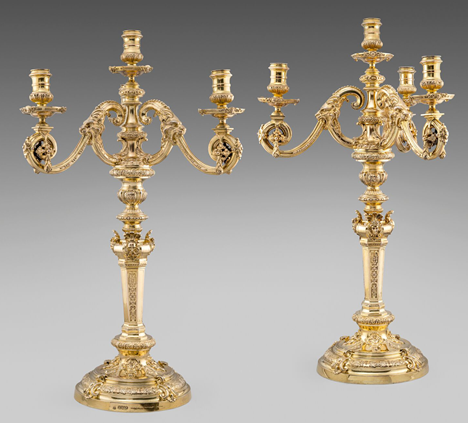 A Massive Pair of Victorian Four-Light Candelabra