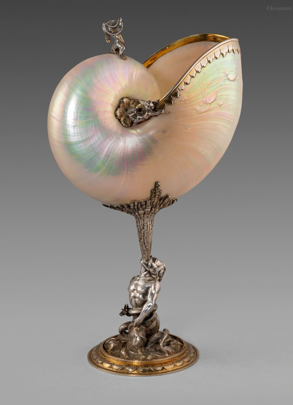A 19th Century French Silver and Silver-gilt Mounted Nautilus Cup