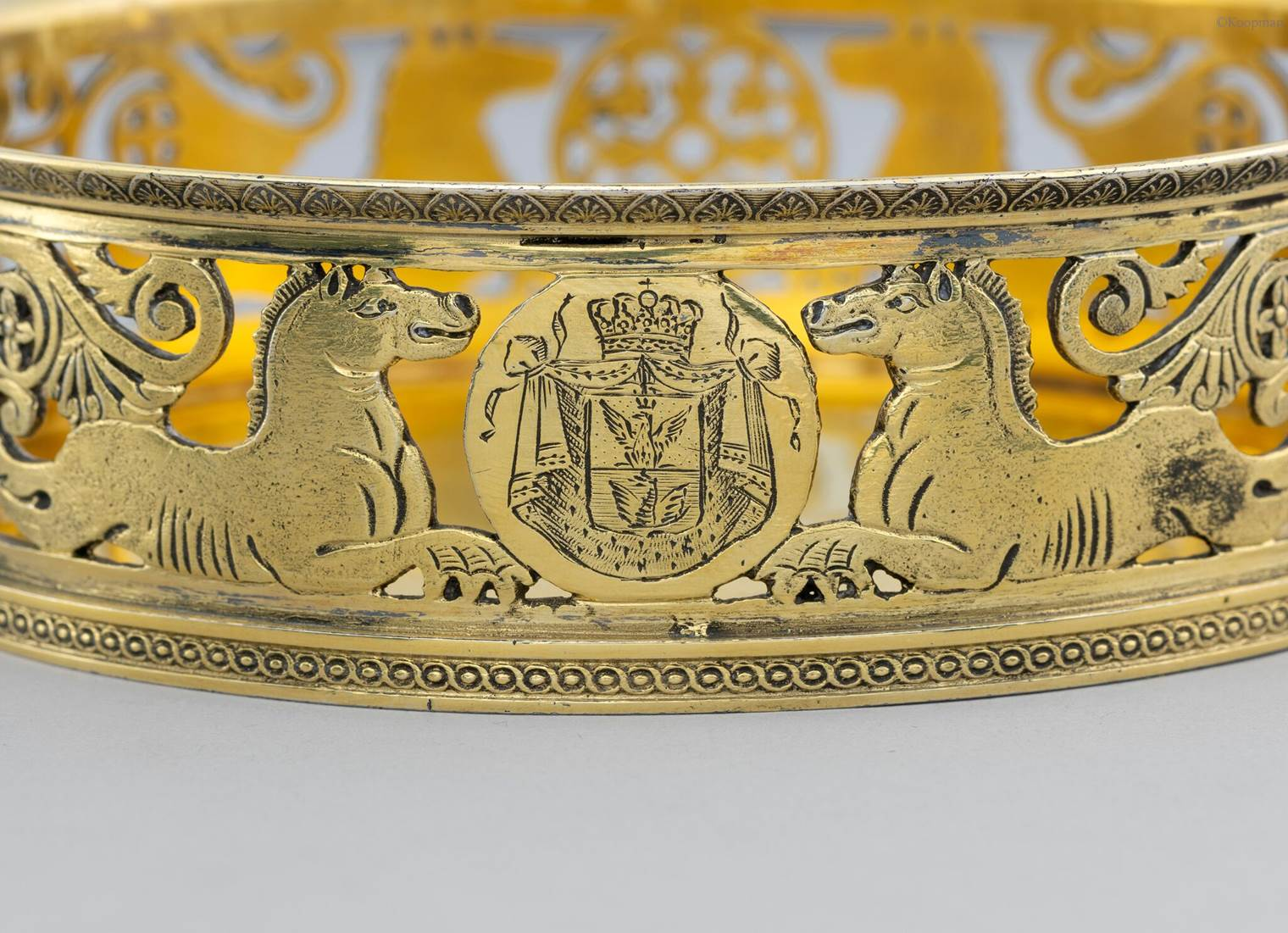 A PAIR OF ITALIAN SILVER-GILT WINE COASTERS  FROM THE BORGHESE SERVICE