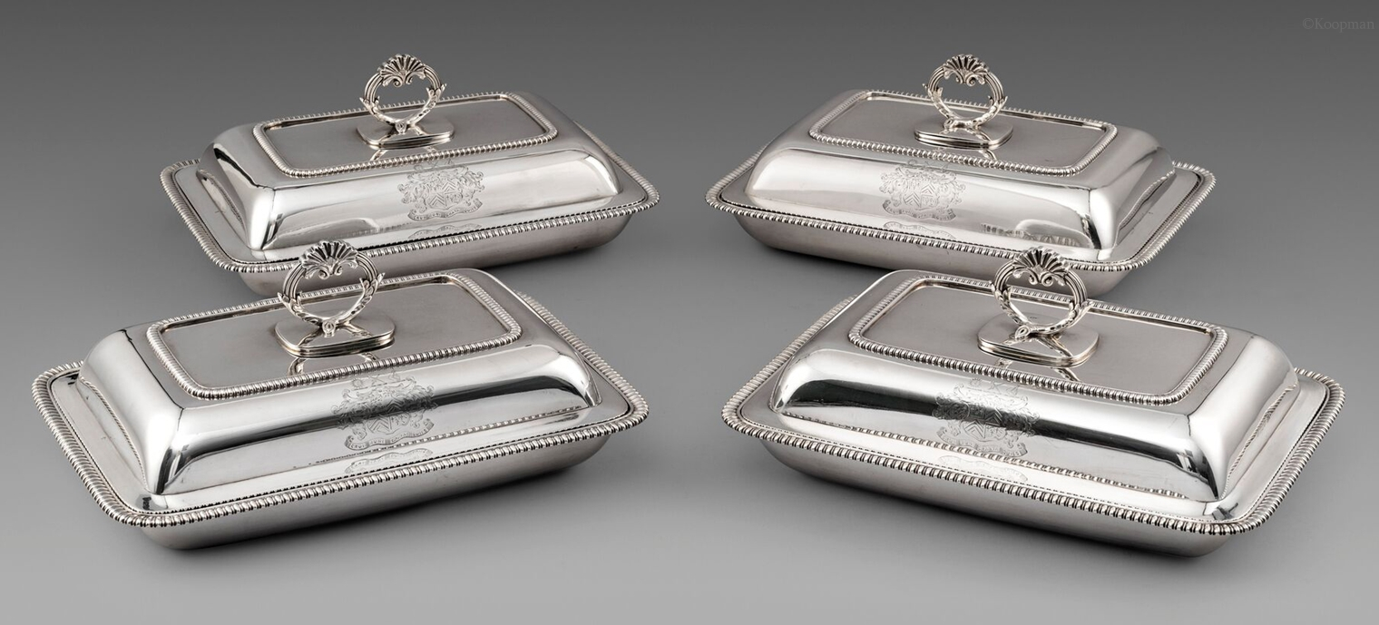 A Set of Four George III Rectangular Entreé Dishes