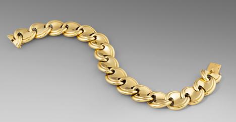 A French Gold Panel Link Bracelet