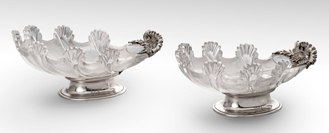 A Rare Pair of Silver Mounted Cut Glass Dessert Dishes