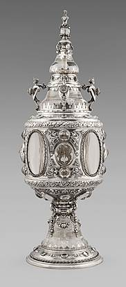 A Continental Silver, Rock-Crystal, & Cut-Glass Cup And Cover