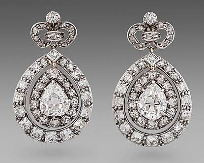 A Pair of 19th Century French Diamond Set Pendant Earrings.