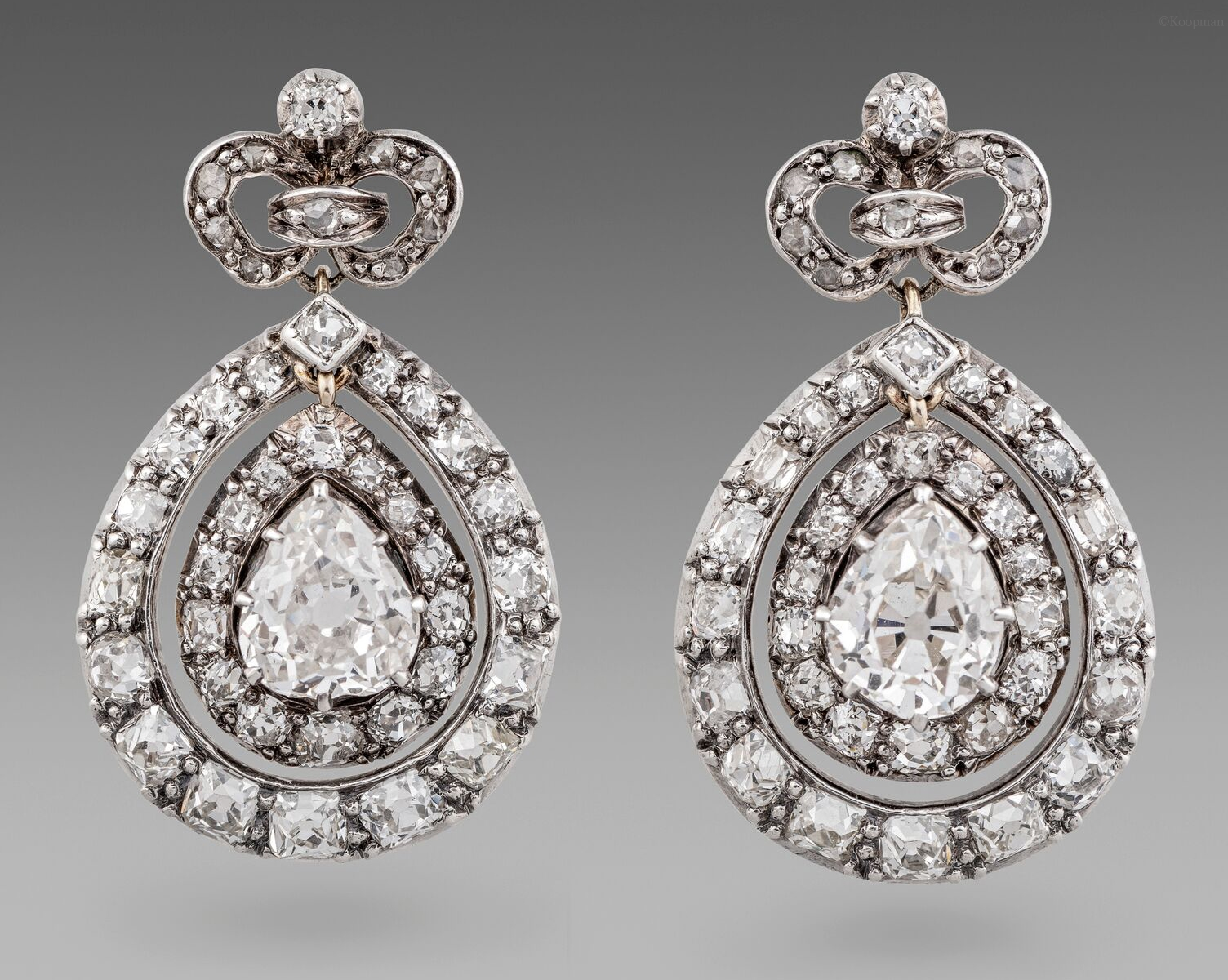 A Pair of 19thCentury French Diamond Set Pendant Earrings.