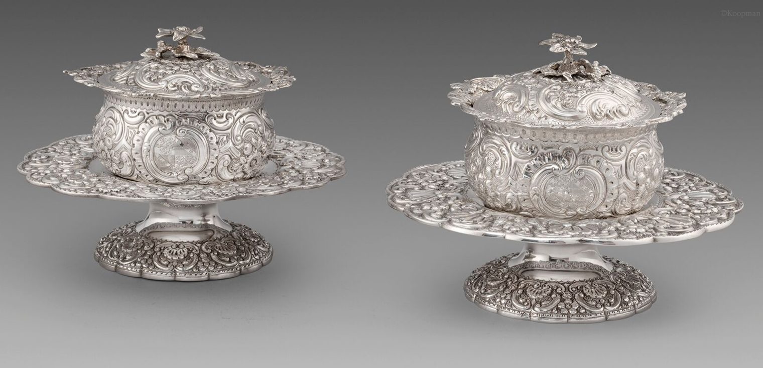 A Rare Pair of George III Butter Dishes on Tazzas