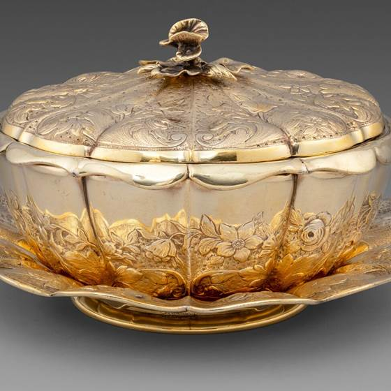 A Floral Silver-Gilt Butter Dish on Stand
