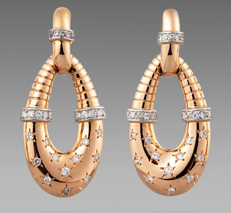 A Pair of Gold & Diamond Earrings