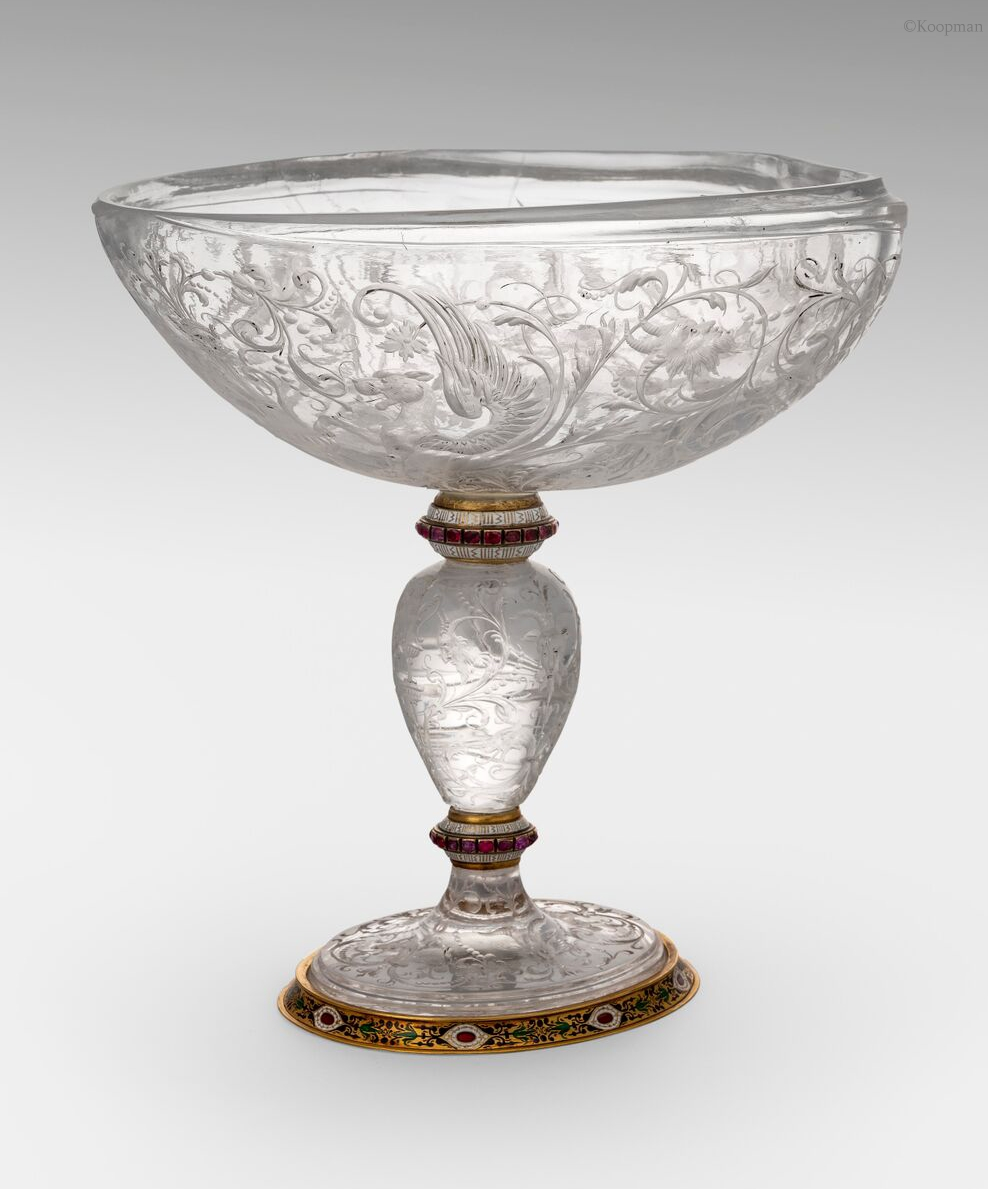 An Austrian Enamel, Gold & Rock Crystal Cup