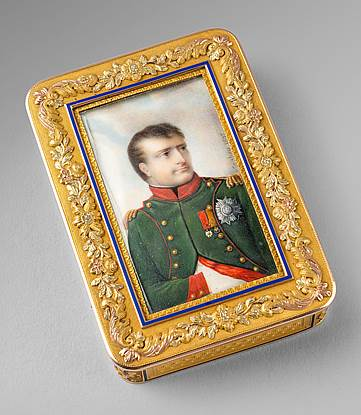 A German Gold, Enamel And Miniature Snuff Box