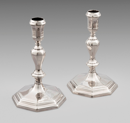 A Pair of Queen Anne Octagonal Candlesticks