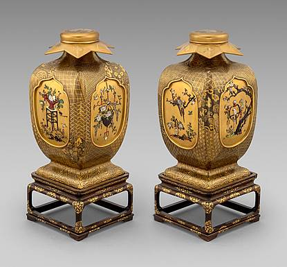A Pair of Japanese Lacquer & Shibayama Vases on Stands