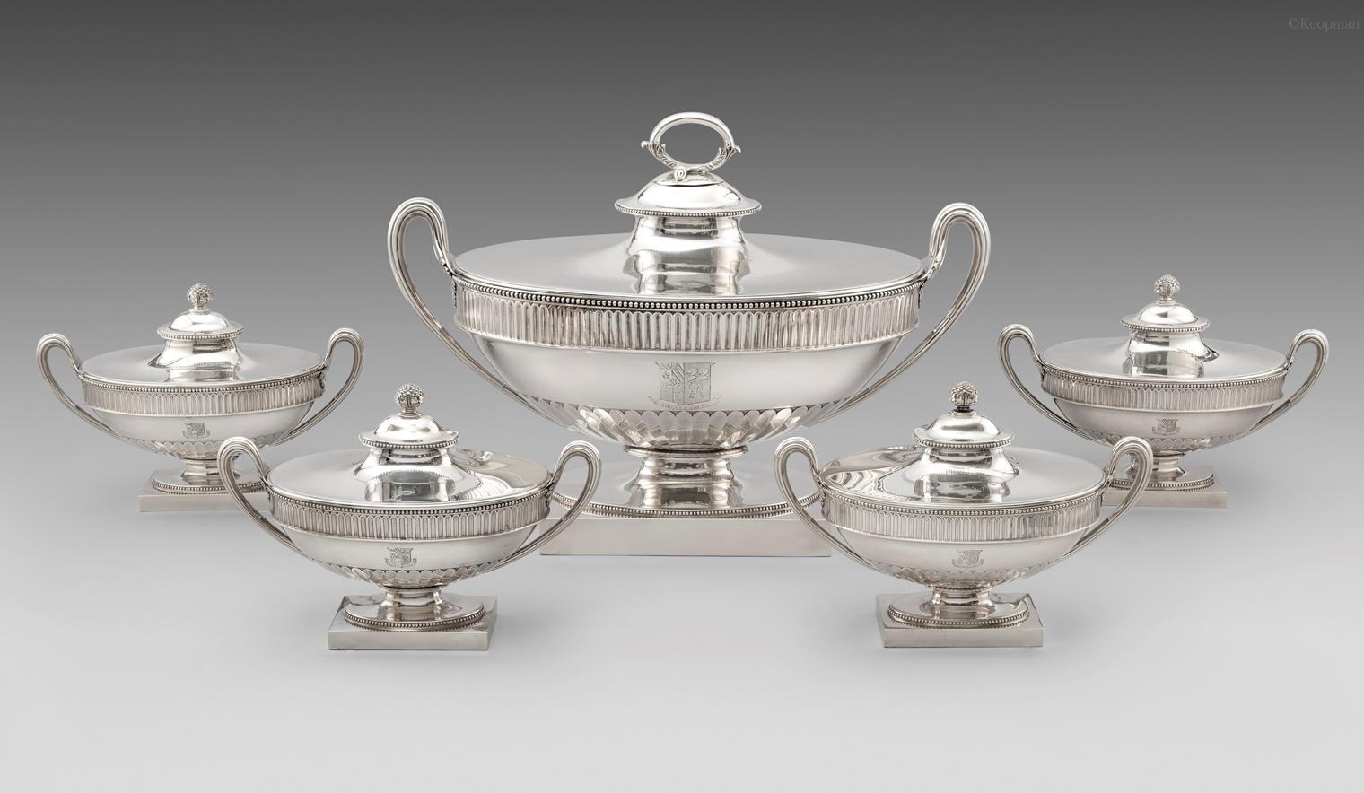 A George III Soup Tureen & Four Sauce Tureens En Suite