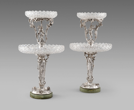 A Pair of Russian Silver, Glass & Hardstone Centrepieces