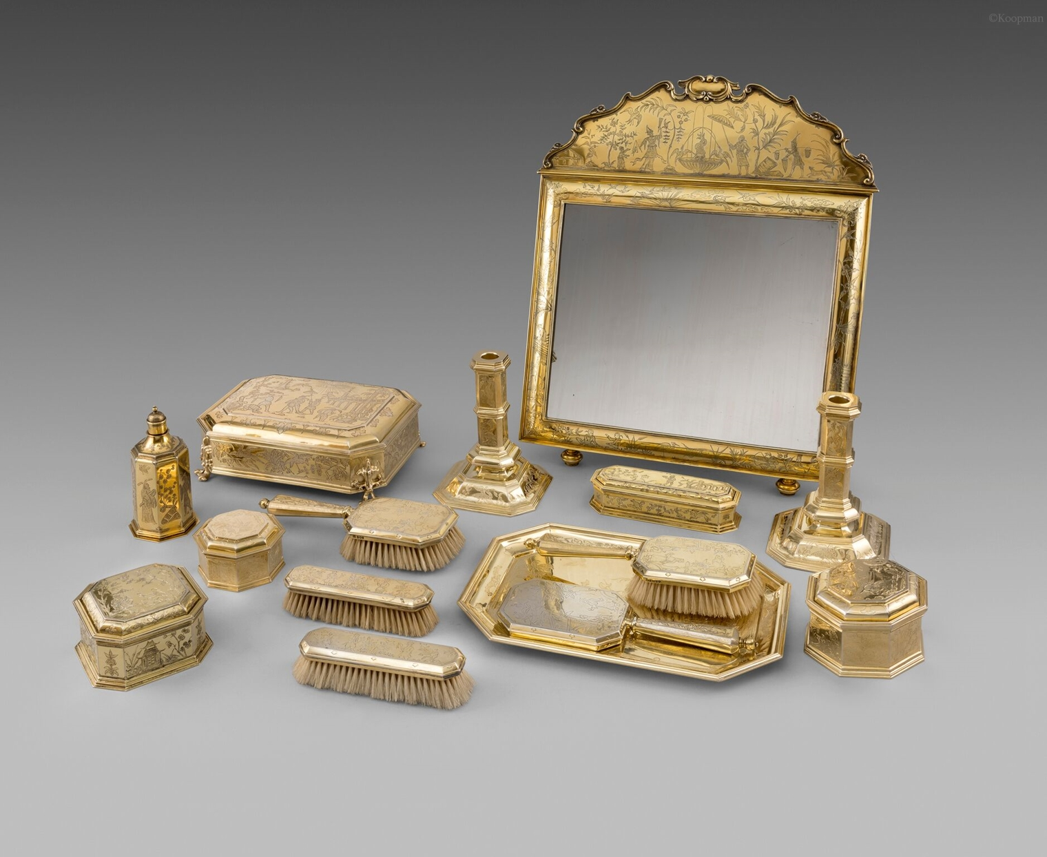 A Silver-Gilt Dressing Table Set
