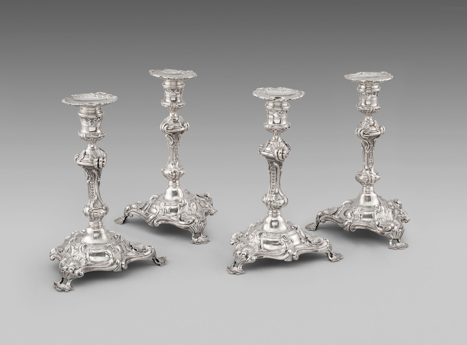 Four George II Candlesticks