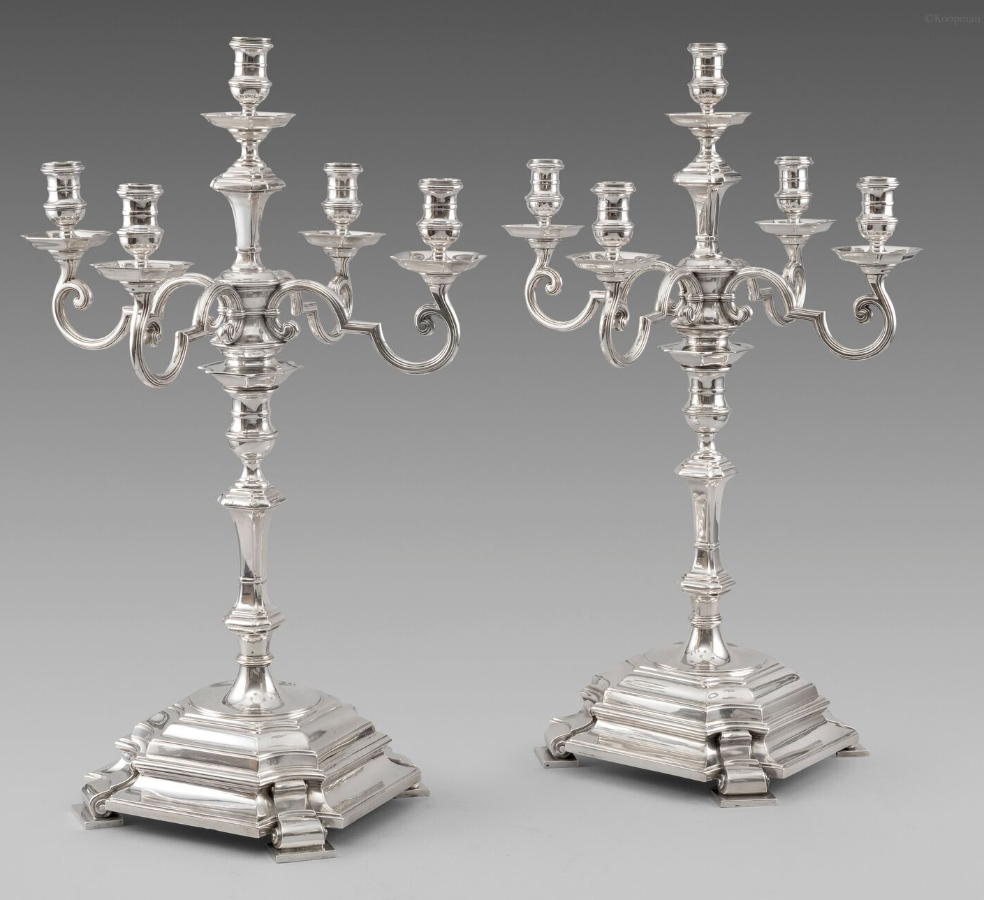 A Pair of five-light Silver Candelabra from the Painted Hall at Greenwich