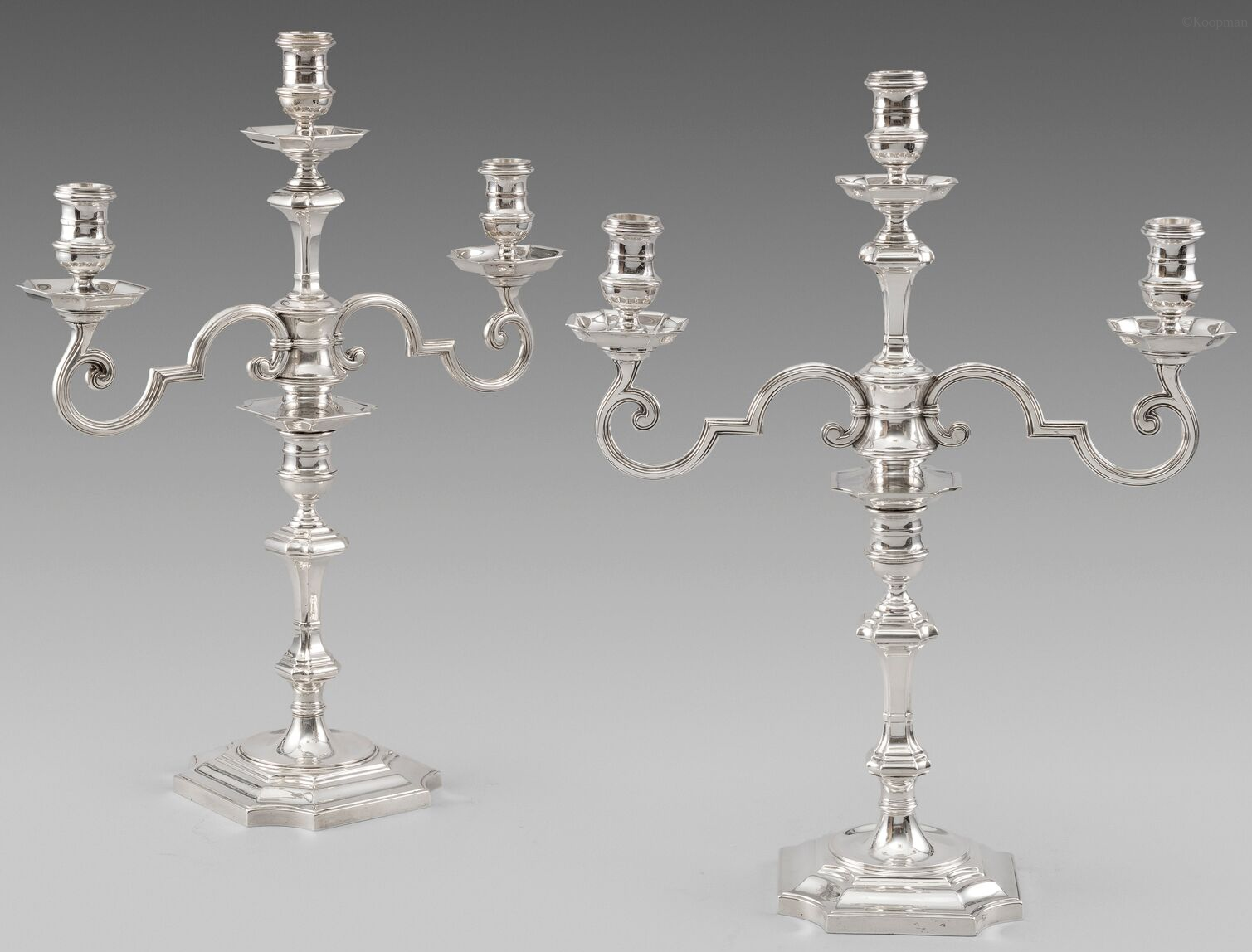 A pair of three-light Silver Candelabra from the Painted Hall at Greenwich