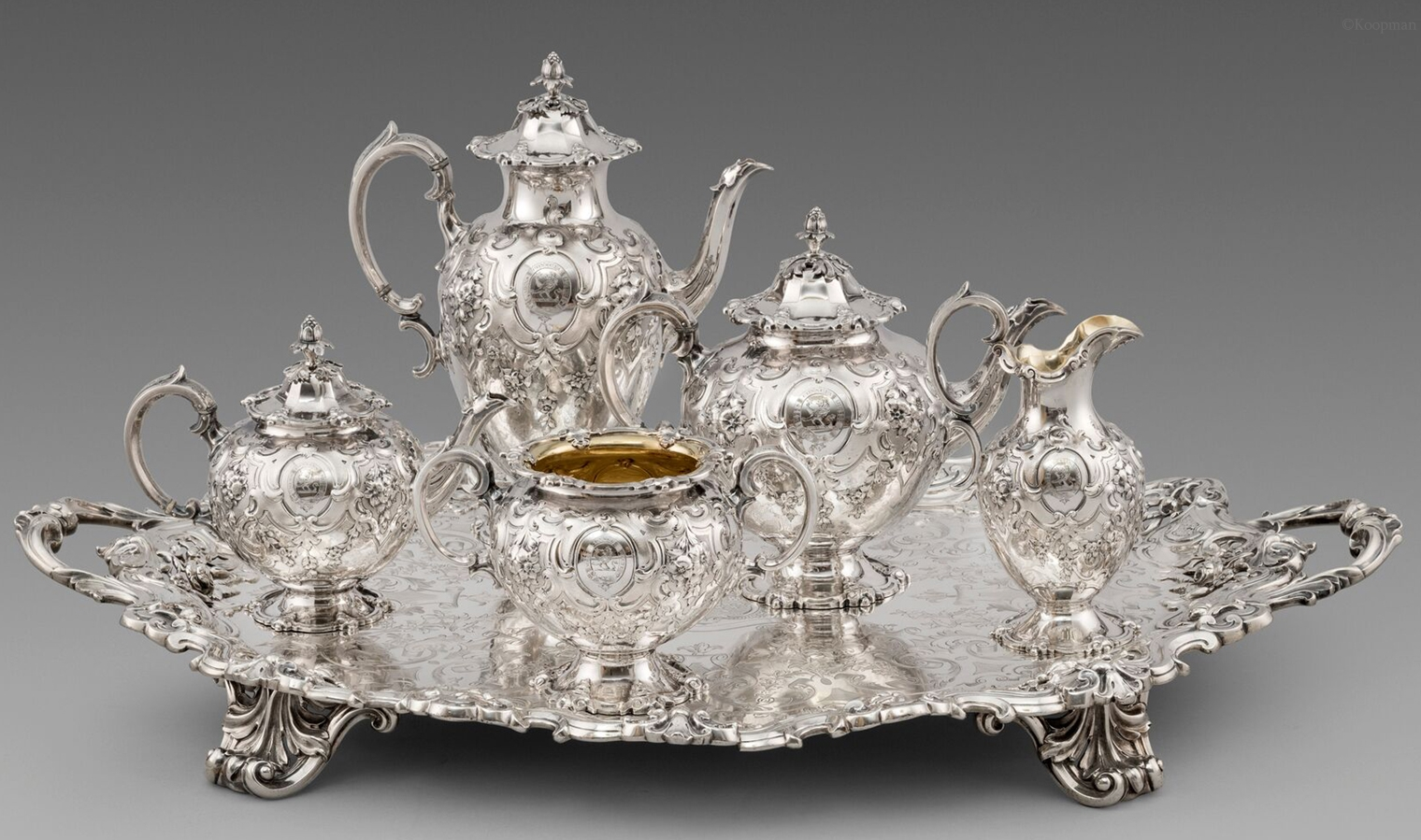 A Victorian Five piece Tea and Coffee Set on Tray
