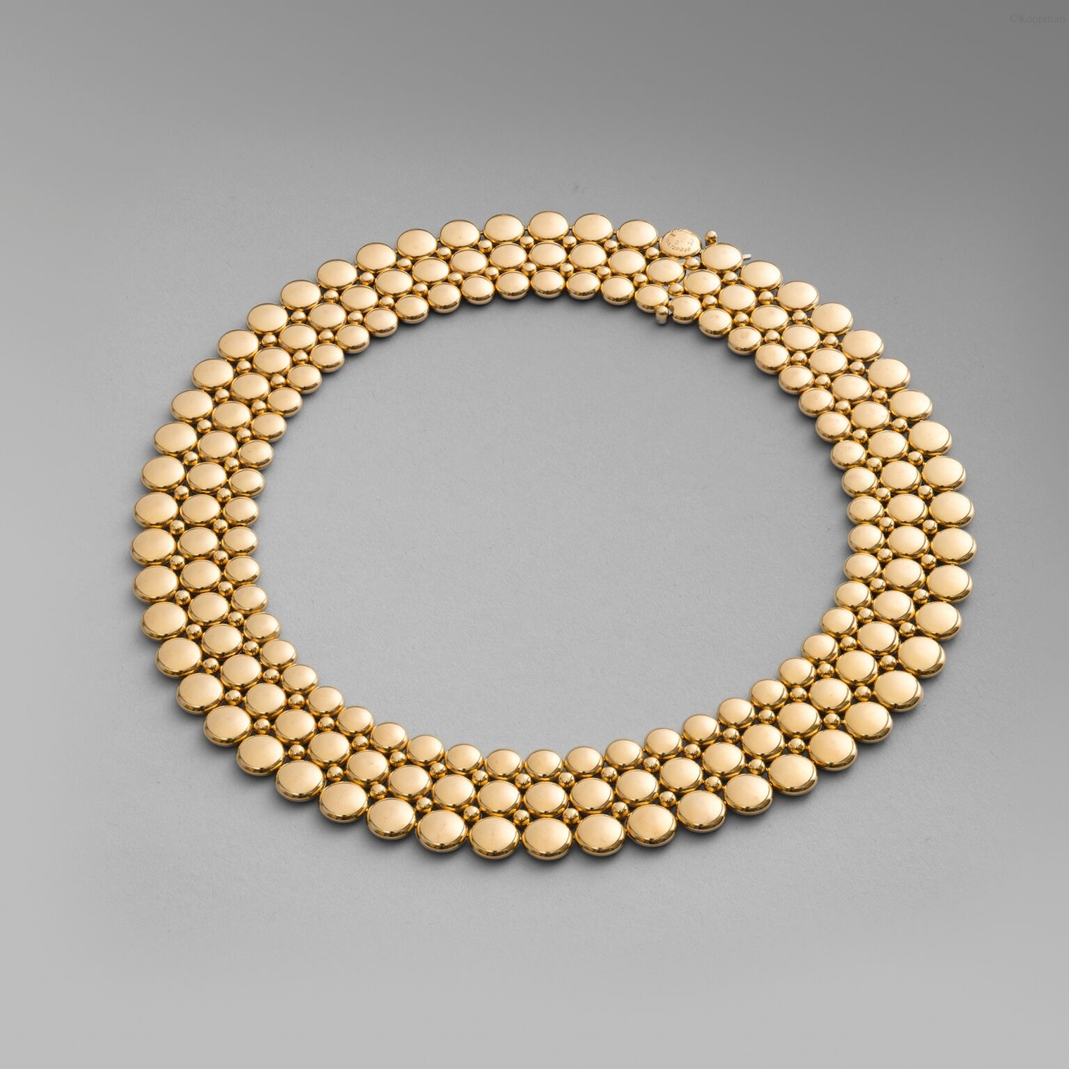 An 18ct Gold Reversible Three Row Collar Necklace
