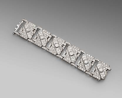 An Art Deco Broad Diamond Set Strap Bracelet