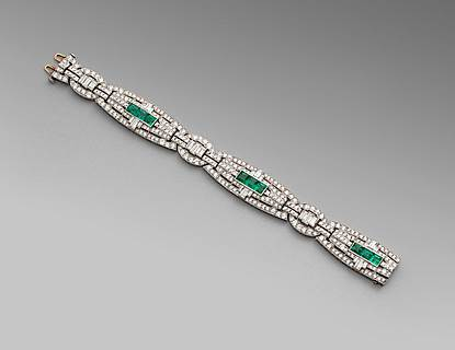 An Art Deco Diamond and Emerald Bracelet