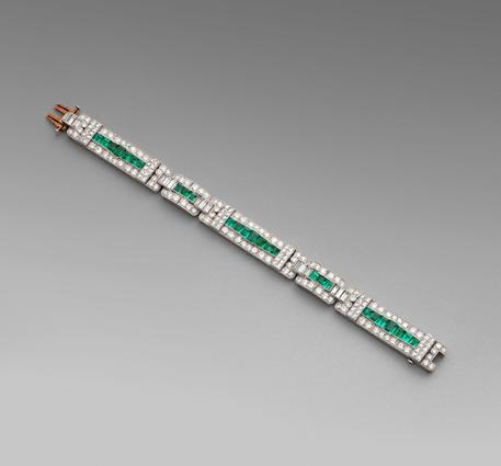 A Diamond and Emerald Bracelet