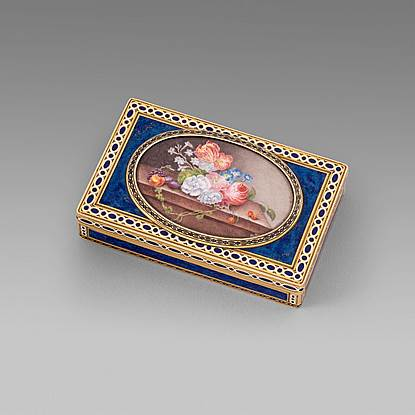 A Rectangular Gold and Enamel Box