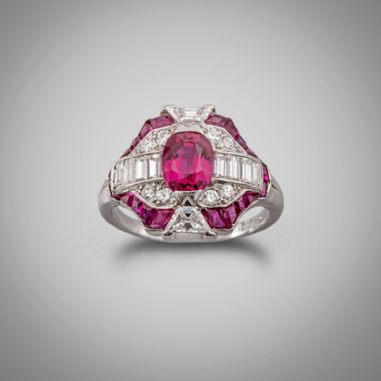 An Art Deco Ruby & Diamond Geometric Cluster Ring