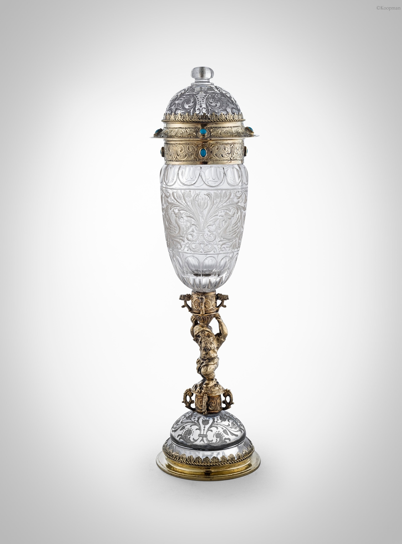 An Austrian Silver Gilt and Rock Crystal Cup and Cover