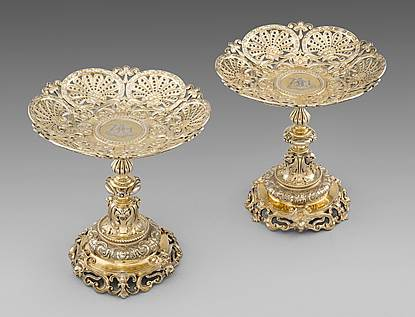 A Pair of Victorian Silver Gilt Comports