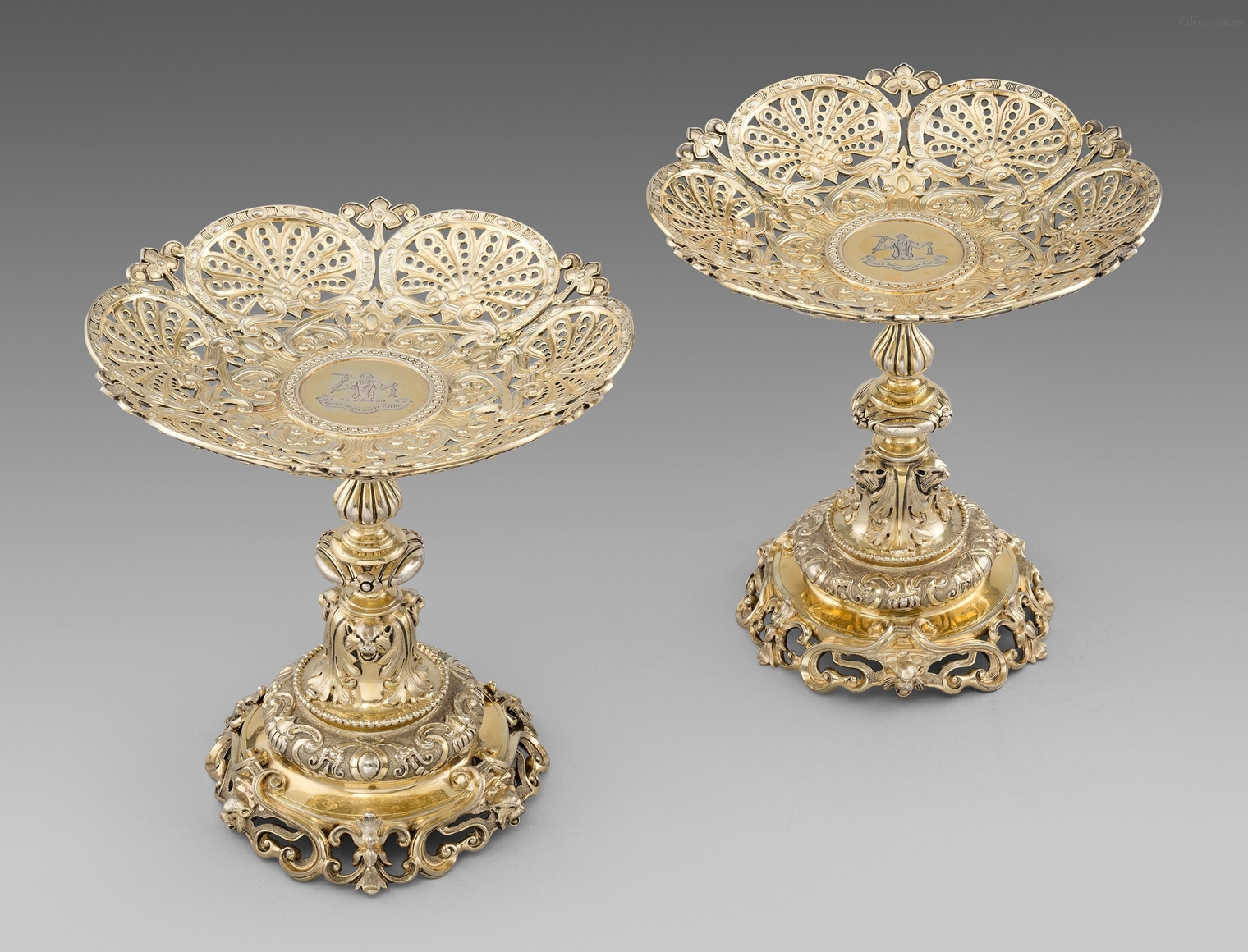 A Pair of Silver-Gilt Comports