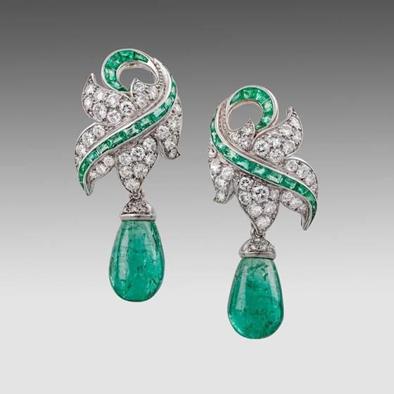 An Important Pair of Emerald & Diamond Ear Clips