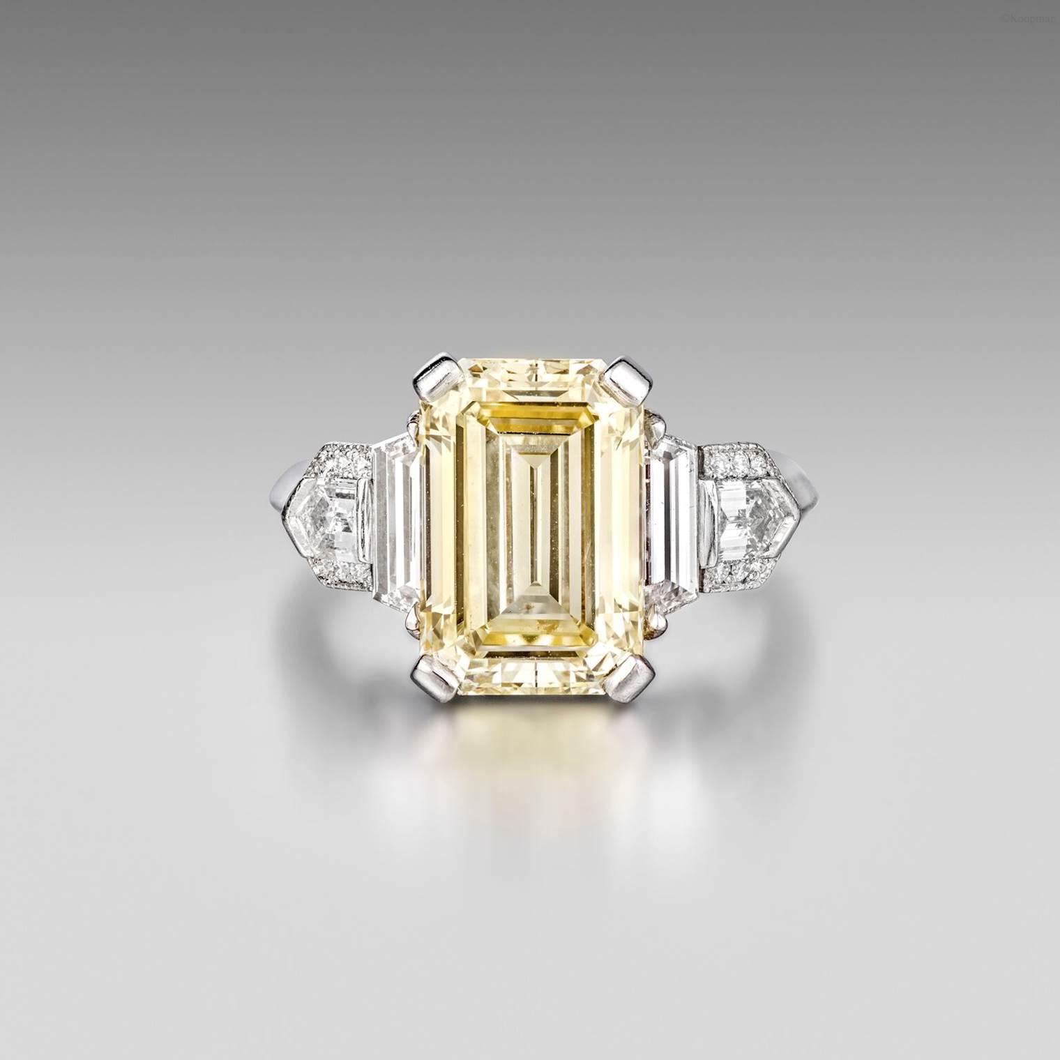 Platinum, Fancy Yellow Diamond and Diamond Art Deco Ring