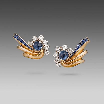 A Pair of Retro Sapphire, Diamond & Gold Earrings