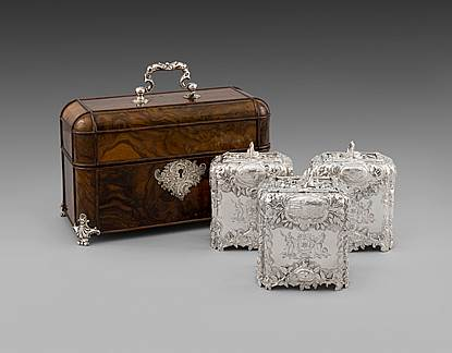 A Set of Three George II Silver Tea-Caddies