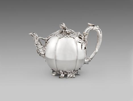 A Victorian Teapot Naturalistic Melon-Form Teapot