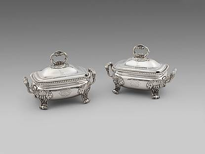 A Pair of Rectangular George III Sauce Tureens